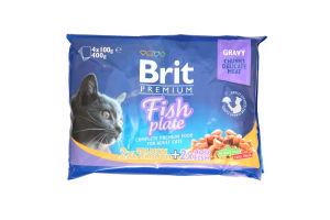 Корм Brit premium Fish plate 2х2 4*100г