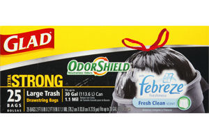Glad OdorShield Febreze Fresh Clean Scent Large Drawstring Bags - 25 CT
