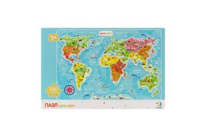 Пазл для детей от 5лет 64х46см №300110 Карта Мира Dodo 100эл