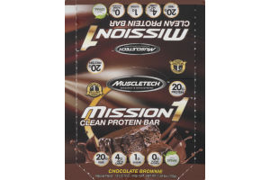 MuscleTech Mission 1 Clean Protein Bar Chocolate Brownie - 12 CT