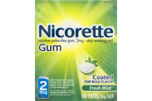 Nicorette Gum 2 mg Fresh Mint - 100 CT