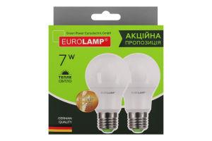 Лампа світлодіодна 4000К 640Lm 7W E27 A60 Eurolamp 2шт