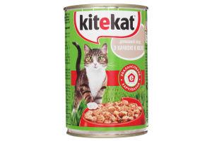 Корм влажный для взрослых котов Домашний обед с уткой в желе Kitekat ж/б 400г