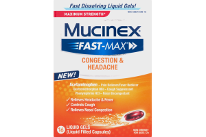 Mucinex Fast-Max Maximum Strength Liquid Gel Capsules Congestion & Headache - 16 CT