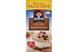 Quaker Classic Recipe Instant Oatmeal Maple & Brown Sugar Value Pack - 18 PK