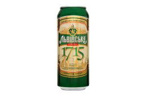 Пиво Львовское 1715 Премиум лагер ж/б 4% 0,5л