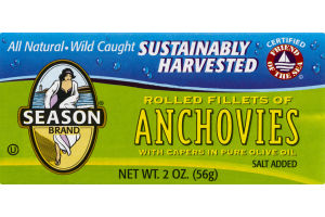 Season Brand Rolled Fillets Of Anchovies With Capers In Pure Olive Oil
