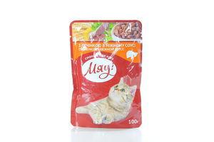 Корм для котов с печенкой в нежном соусе мягкая упаковка Мяу! 100г