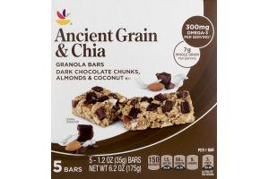 Ahold Ancient Grain & Chia Granola Bars Dark Chocolate Chunks, Almonds & Coconut - 5 CT