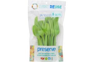 Preserve Heavy Duty Cutlery Apple Green 24ct