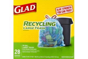Glad Recycling Drawstring Large Trash Bags, Blue, 30 Gallon, 28 Count
