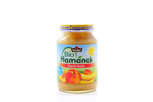 Пюре для детей от 5мес Персик-банан Hamanek с/б 190г
