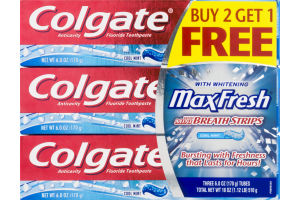 Colgate With Whitening MaxFresh Toothpaste Cool Mint - 3 PK