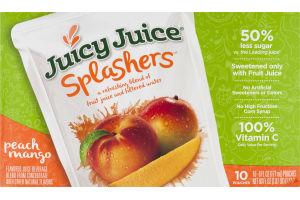 Juicy Juice Splashers Juice Pouches Peach Mango - 10 CT