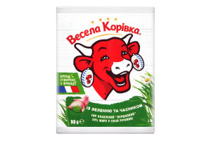 Сир плавлений 50% із зеленю та часником Вершковий Весела корівка м/у 90г
