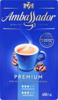 Кава натуральна смажена мелена Premium Ambassador в/у 450г