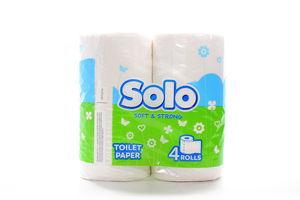 Туалетная бумага 2-слойная белый Solo 4шт