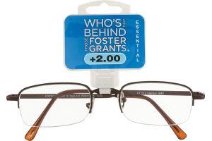 Foster Grants Non-Prescription Glasses Essential +2.00 Harrison BRN