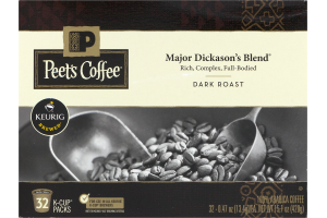 Peet's Coffee Major Dickason's Blend Dark Roast K-Cups Packs - 32 CT