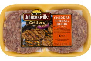 Johnsonville Grillers Patties Cheddar Cheese & Bacon - 4 CT