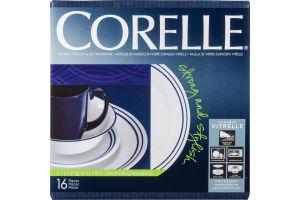 Corelle Livingware Durable Vitrelle Glass Dinnerware Breathtaking Blue Beads - 16 CT
