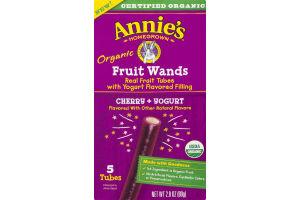 Annie's Homegrown Organic Fruit Wands Cherry + Yogurt - 5 CT