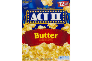 Act II Microwave Popcorn Butter - 12 CT