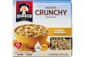 Quaker Warm & Crunchy Granola Honey Almond - 8 CT