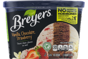 Breyers Vanilla, Chocolate, Strawberry Ice Cream
