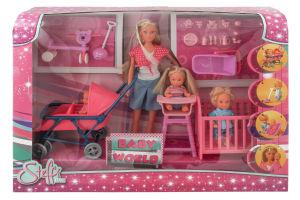 Набір ляльковий Штеффі з дітьми та аксесуарами Simba 2 види 3+