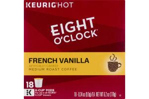 Eight O'Clock Keurig Hot French Vanilla Medium Roast Coffee K-Cup Pods - 18 CT