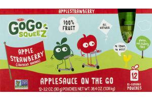 GoGo Squeez Applesauce On The Go Apple Strawberry - 12 CT