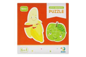 Пазл для дітей від 18міс №300155 Фрукти і овочі 2-3-4 елементи Dodo 18ел
