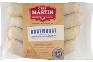 Chef Martin Old World Butcher Shop Sausage Bratwurst - 4 CT