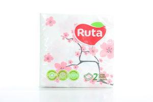 Салфетки бумажные столовые 24х24см 2-х слойные Сакура Ruta 40шт