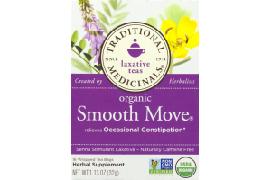 Traditional Medicinals Laxative Teas Organic Smooth Move Herbal Supplement Wrapped Tea Bags - 16 CT