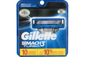 Gillette Mach3 Turbo Cartridges - 10 CT