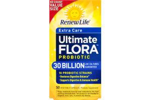 Renew Life Extra Care Ultimate Flora Probiotic Vegetable Capsules - 50 CT