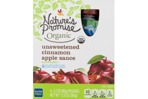 Nature's Promise Organic Unsweetened Apple Sauce Cinnamon - 4 CT