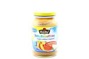 Пюре для детей от 6мес из яблок и персиков BabySmoothies Hame c/б 190г