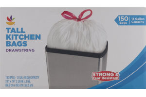 Ahold Tall Kitchen Bags Drawstring 13 Gallon - 150 CT