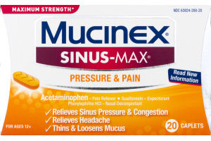 Mucinex Sinus-Max Pressure & Pain Caplets - 20 CT