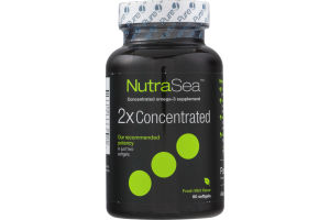 NutraSea Omega-3 Supplement 2X Concentrated Softgels Fresh Mint Flavor - 60 CT
