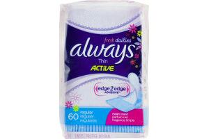 Always Active Thin Liners Regular Clean Scent - 60 CT