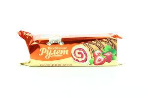 Рулет бісквітний Roshen Biscuit з Полуничним кремом 210г