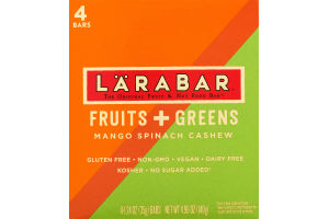 Larabar The Original Fruit & Nut Food Bar Fruit + Greens Mango Spinach Cashew - 4 CT