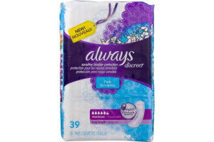 Always Discreet, Incontinence Pads, Maximum, Long Length- 39 CT