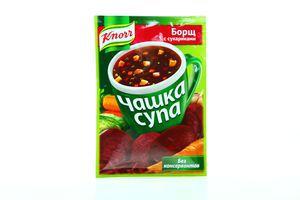 Суп быстрого приготовления Борщ с сухариками Чашка супа Knorr м/у 14.8г