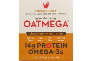Oatmega Grass-Fed Whey Bars Chocolate Peanut Crisp - 12 CT