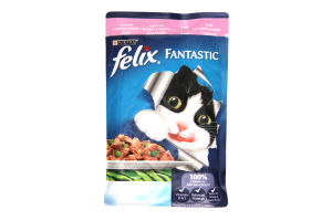 Корм д/кот с форелью и зел бобами кусочки в желе Felix м/у 100г
